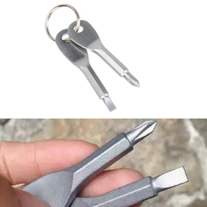 Portable Phillips Slotted Screwdriver Key Ring
