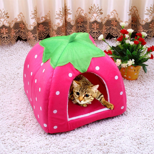 Cute Foldable Cat Kitten Pet Dog House Bed Kennel S-XXL