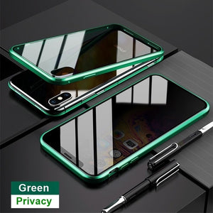 iPhone Magnetic 360 Anti-Spy Privacy Glass Magnet Metal Case 11 Pro XS Max X XR 12 SE 2020