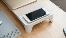 Load image into Gallery viewer, Multifunctional Wooden Monitor Stand (with Wireless Charger / Fast Charging Hub)