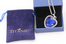 Load image into Gallery viewer, Titanic Heart of Ocean Blue Heart Love Forever Pendant Necklace + Velvet Bag