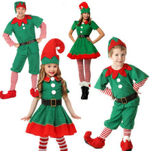 Load image into Gallery viewer, Green Christmas Elf Cosplay Costume for Family