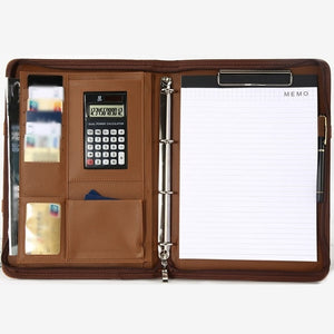 A4 Leather Portable Multi-function Folder