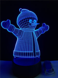 Christmas Xmas Snowman 3D USB LED Lamp