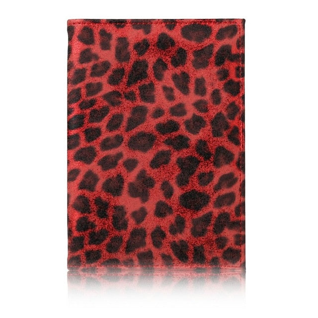 TRASSORY 2019 Leather Wild Leopard Style Passport Cover Case with Card Case and Cash Holder