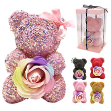 Load image into Gallery viewer, Crystal Rhinestone Bear -Diamond Rose Bear Fragrant Rose Edition