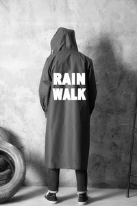 Adult Long Men Women Black Outdoor Waterproof Hooded Raincoat