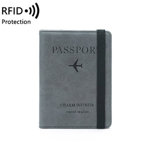 RFID Vintage Business Passport Leather Covers Holder Travel Accessories