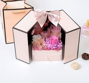 Valentine's Day Gift Teddy Bear Rose 2 Doors Gift Box