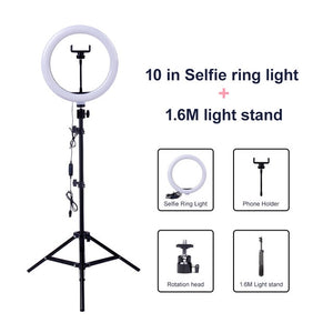 Video Light Dimmable LED Selfie Ring Light USB 2M Tripod Stand