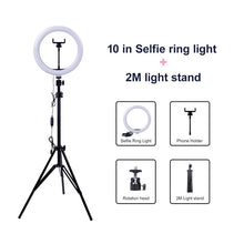 Load image into Gallery viewer, Video Light Dimmable LED Selfie Ring Light USB 2M Tripod Stand