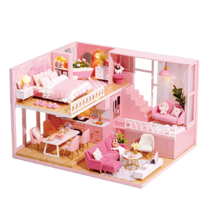 DIY Doll House Miniature Dollhouse Furniture Kit with LED