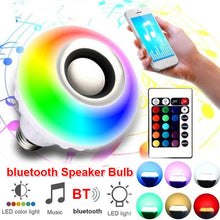 Load image into Gallery viewer, E27 LED Portable Bluetooth Wireless Speaker 16 Colors Lighting Bulb