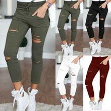 Load image into Gallery viewer, Women Fashion Slim High Waisted Stretchy Skinny Broken Hole Pencil Pants Trousers