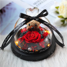 Load image into Gallery viewer, Eternal Preserved Fresh Rose Teddy Bear Molding LED Light In A Flask