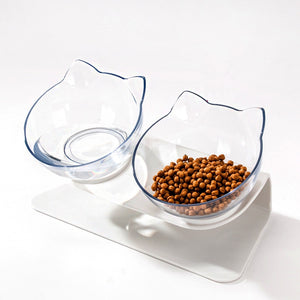 Non-slip Double Cat Bowl Dog Bowl With Raised Stand Pet Feeder