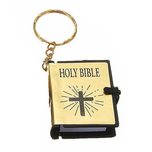 Mini HOLY Bible Keychain Religious Christian Jesus Cross Key Chain