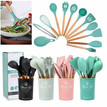 Load image into Gallery viewer, New 11pcs/set Silicone Wooden Handle Kitchen Cooking Utensils Set