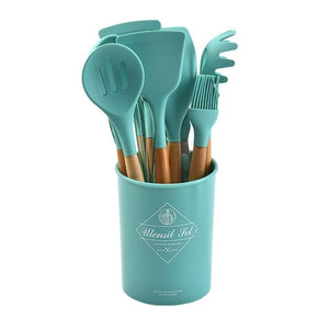 New 11pcs/set Silicone Wooden Handle Kitchen Cooking Utensils Set