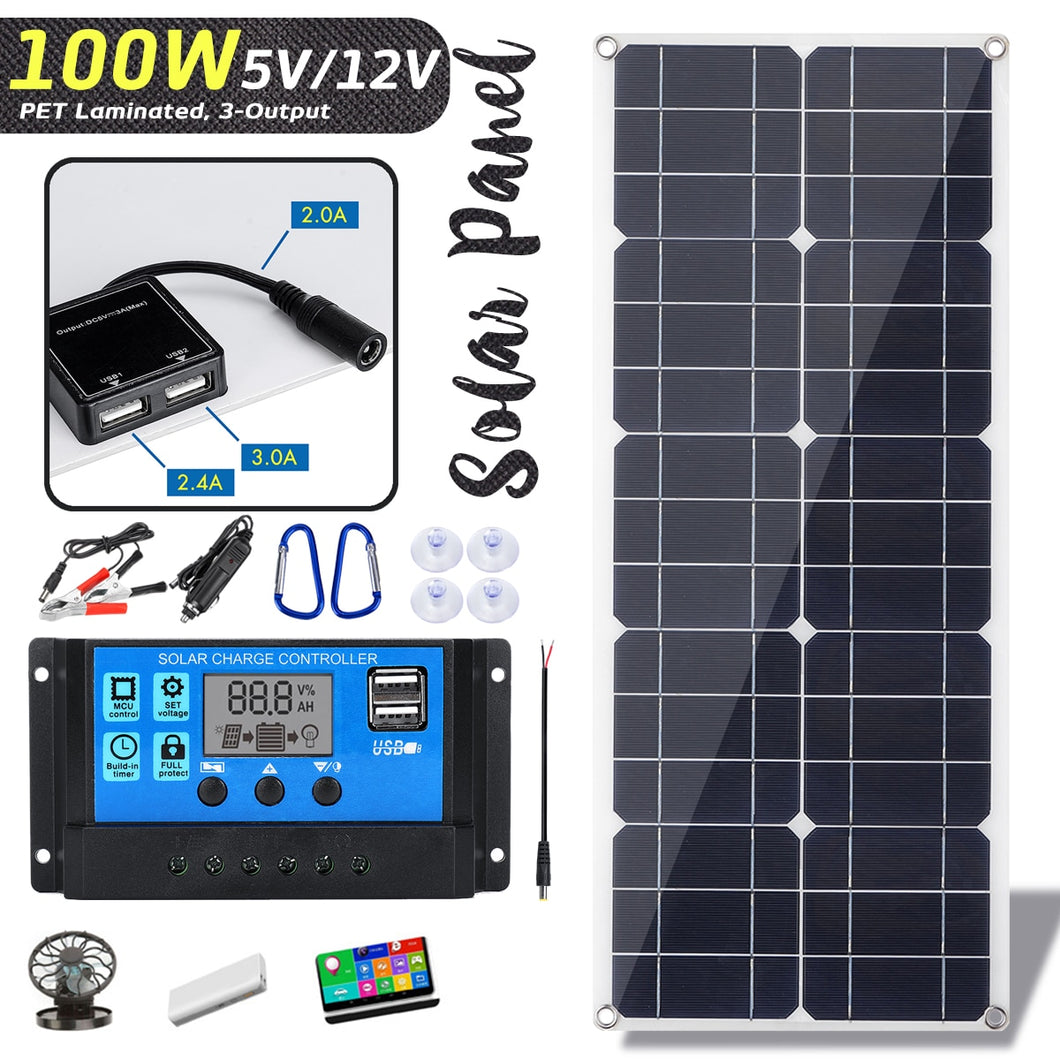 100W 18V Monocrystaline Solar Panel Dual 12V/5V DC USB Charger Kit with 10A Solar Controller & Cables for Outdoor