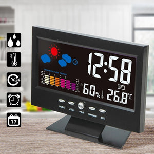 LCD Digital Thermometer Hygrometer Calendar Clock Weather Station Large Screen