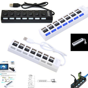 7-Port USB 2.0 Multi Charger Hub ON/OFF Switch