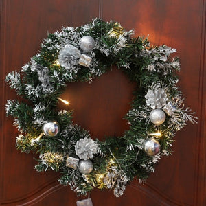 Christmas Wreath With Battery Powered LED Light String Front Door Hanging Garland
