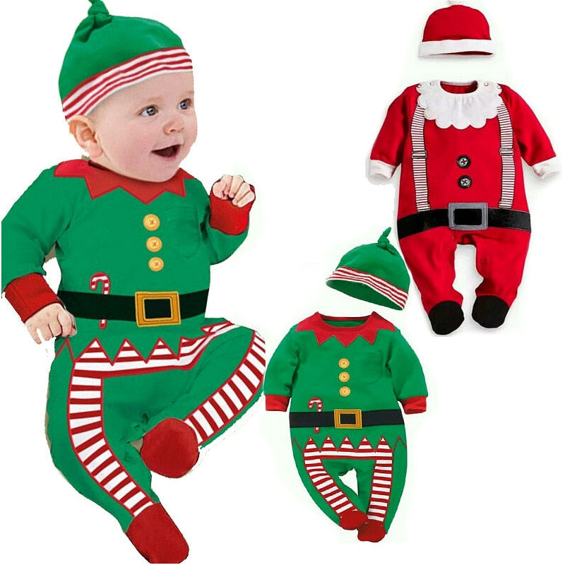 Newborn Infant Baby Boy Girl Christmas Santa Clothes Romper Hat