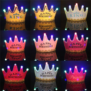 Princess LED Light Birthday Party Hats Crown Birthday Party Cap