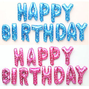 Aluminum Foil Membrane Happy Birthday Colorful Letters Number Party Balloons