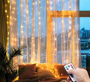 3M LED Christmas String Lights Remote Control USB New Year Garland Curtain Lamp Decoration
