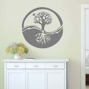 Ecosphere Tree Symbol Wall Sticker 🔮🌲 Gray
