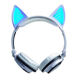 Cute Ariana Grande Cat Ear Bluetooth Headphones Wireless with LED