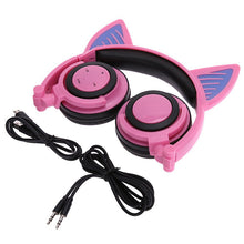 Load image into Gallery viewer, Cute Ariana Grande Cat Ear Bluetooth Headphones Wireless with LED