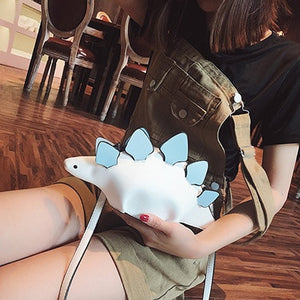 Creative Chameleon Animal Dinosaur Messenger HandBag White