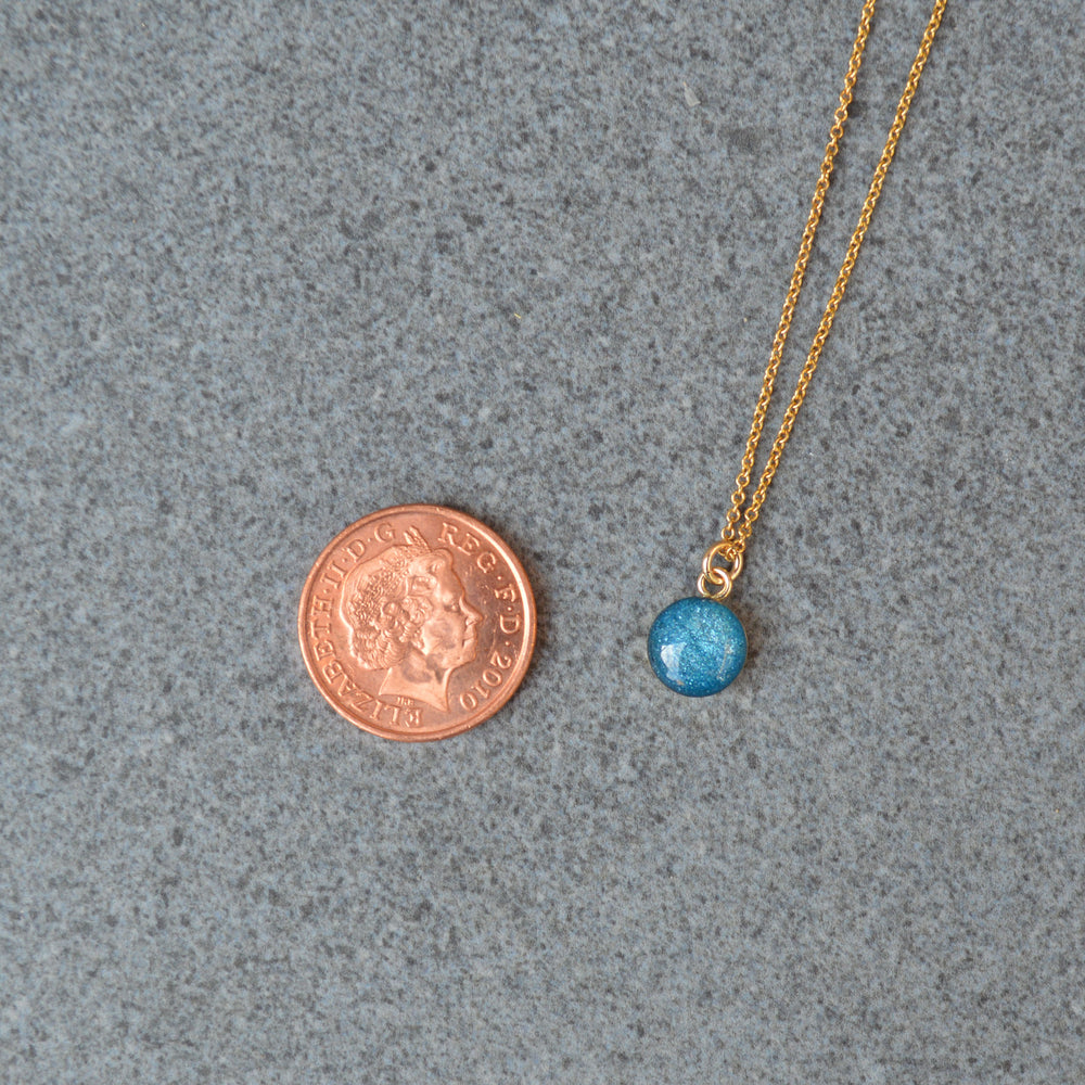 Phoenix Small Round Stone Gold Ashes Necklace