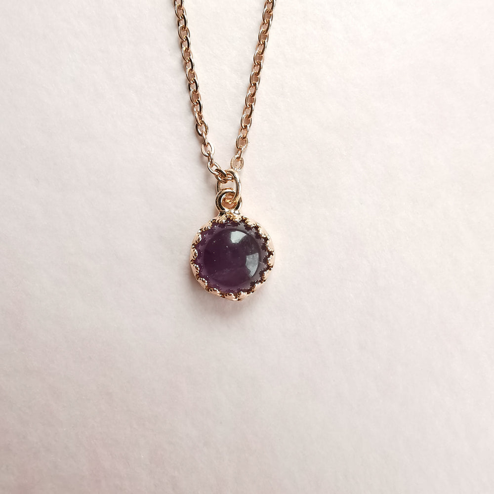 Amethyst Small Rose Gold Necklace