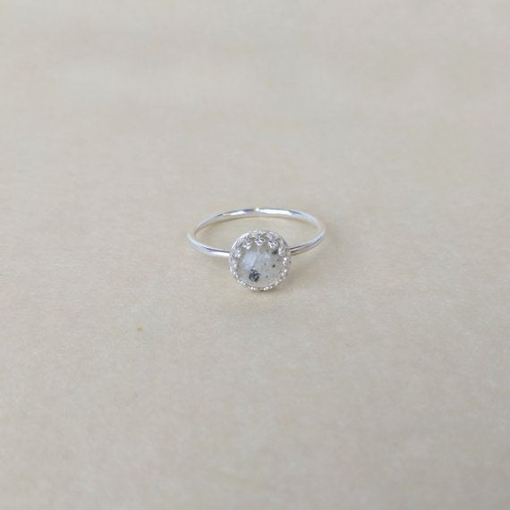 Genuine Lunar Meteorite Moon Dust Princess Ring