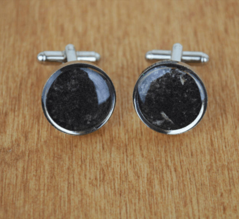 Ashes and Cremation Cufflinks in pure ashes stone, lovingly handmade in Oxfordshire