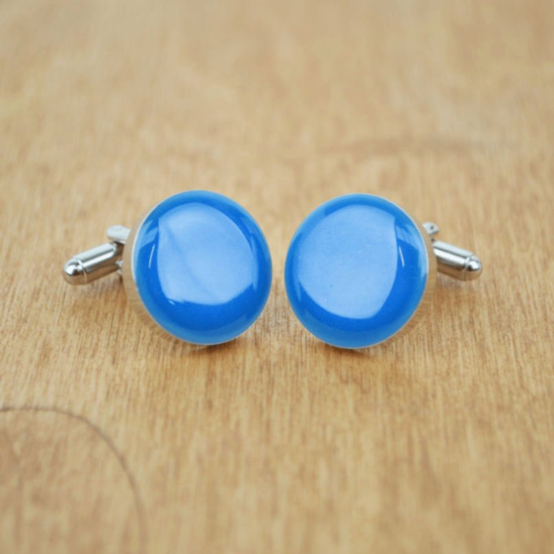 Ashes and Cremation Cufflinks in a custom blue colour, lovingly handmade in Oxfordshire