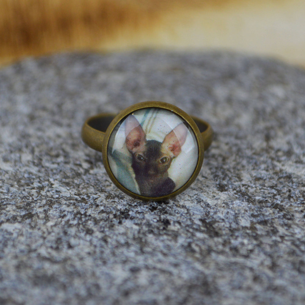 Vintage Gold Custom Picture Ring with a cat in it