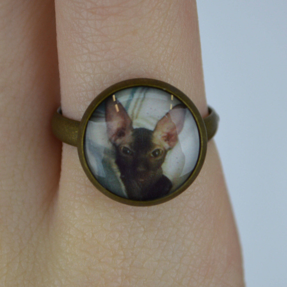 Vintage Gold Custom Picture Ring of a cat