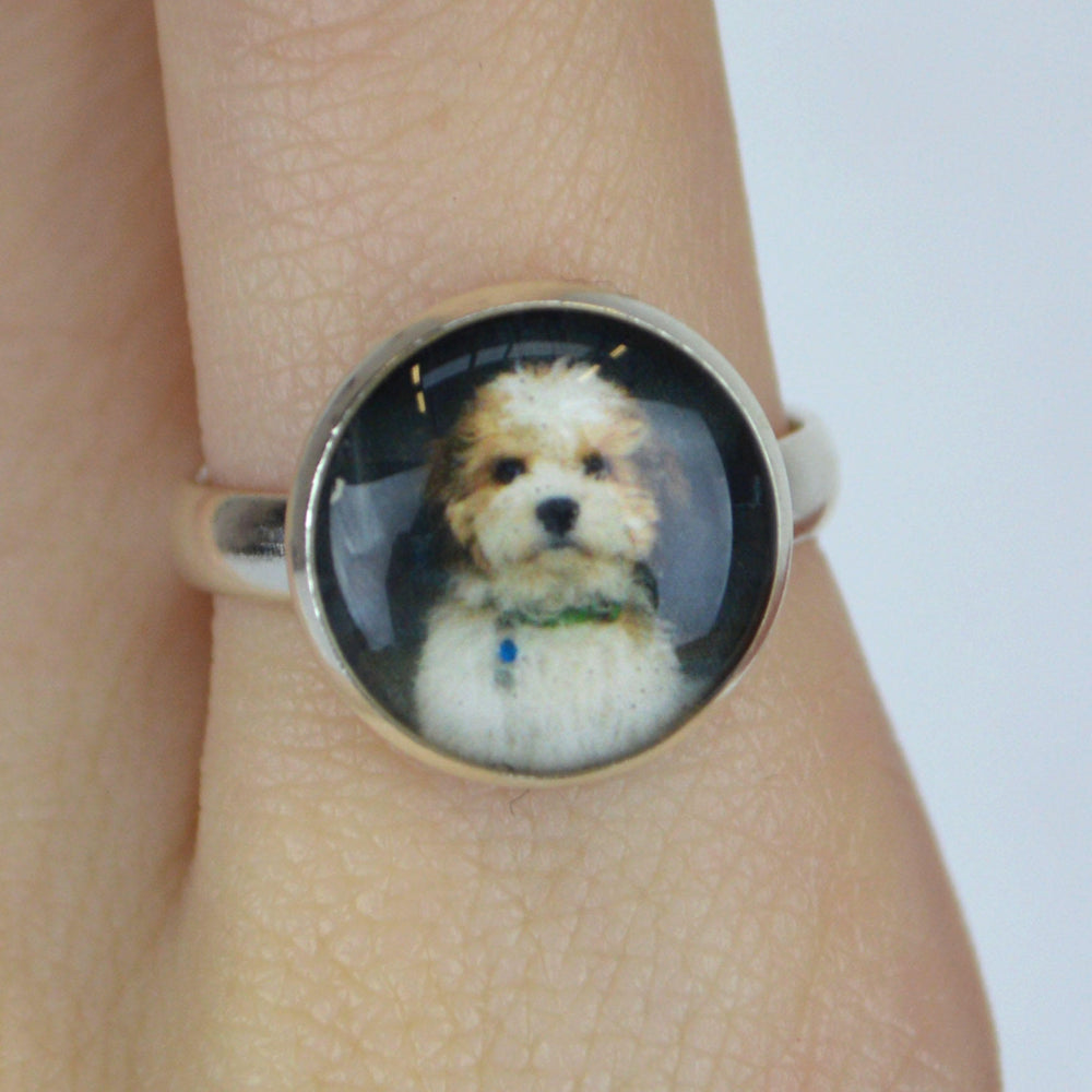 Silver Custom Picture Ring with a dog in it