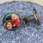 Large Vintage Gold Custom Picture Cufflinks