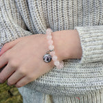 Rose Quartz Personalised Picture Bracelet Hypoallergenic Stainless