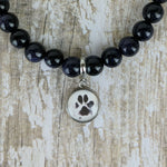 Blue Goldstone Custom Picture Bracelet of a Dogs Paw Print