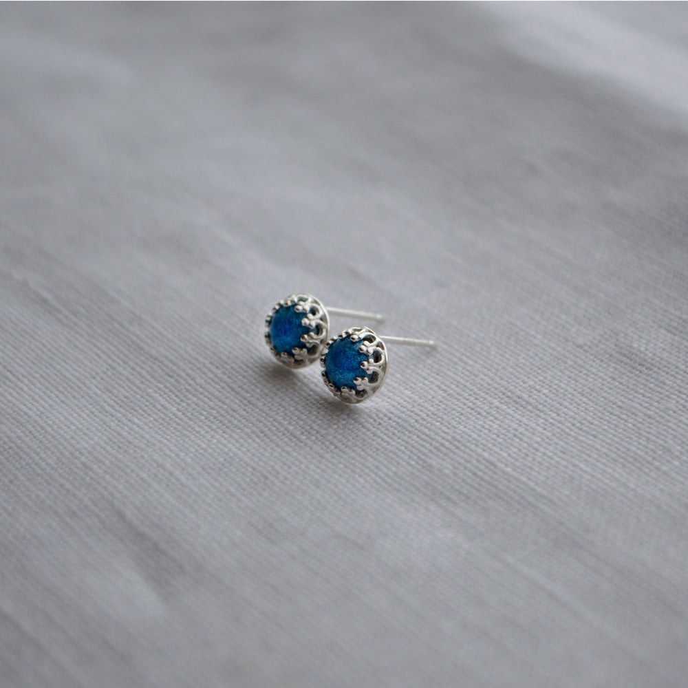 Princess Small Stone Stud Earrings