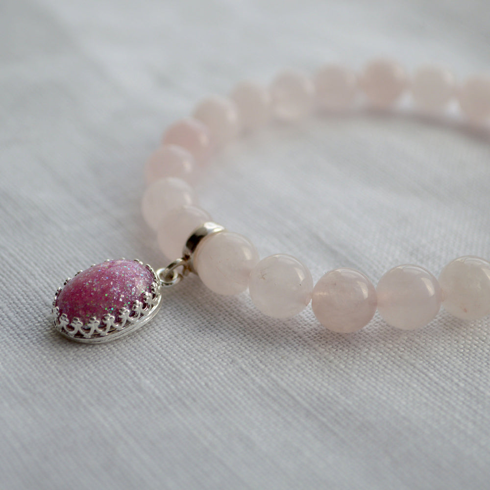 Princess Medium Stone Rose Quartz Ashes Charm Bracelet