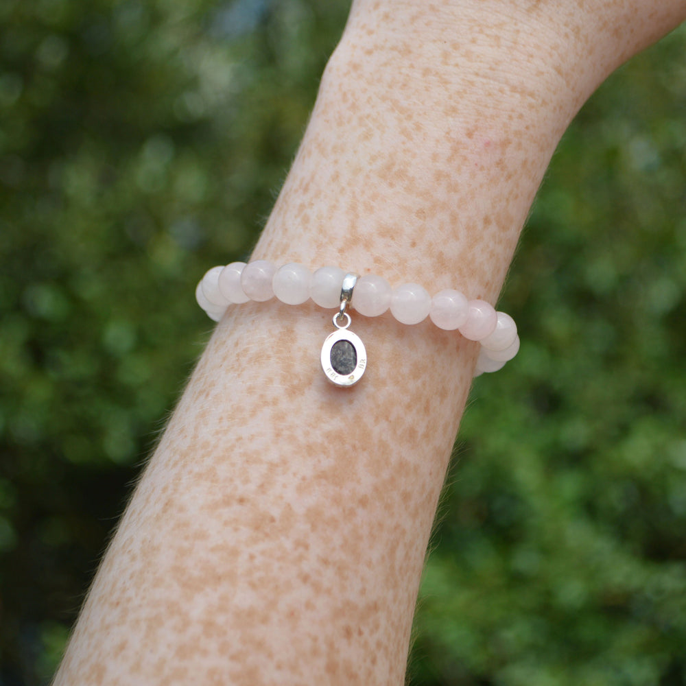 Princess Small Stone Rose Quartz Ashes Charm Bracelet