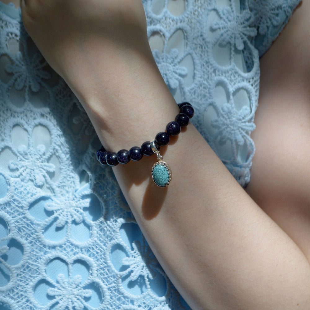 Princess Medium Stone Blue Goldstone Ashes Bracelet